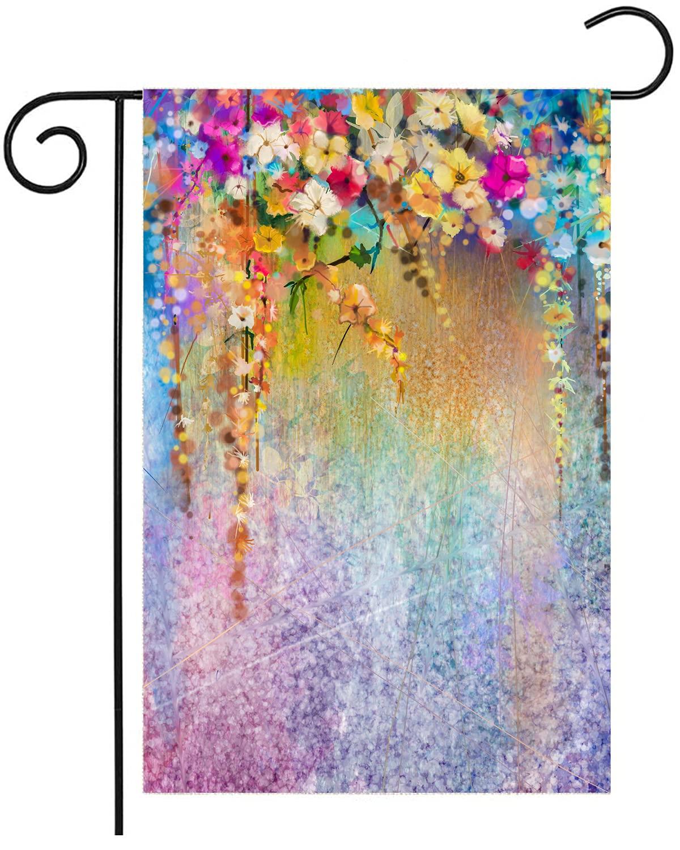 Watercolor Garden Flag, Abstract Spring Summer Seasonal Floral Flower Painting Art Garden Yard Flag 12.5 x 18