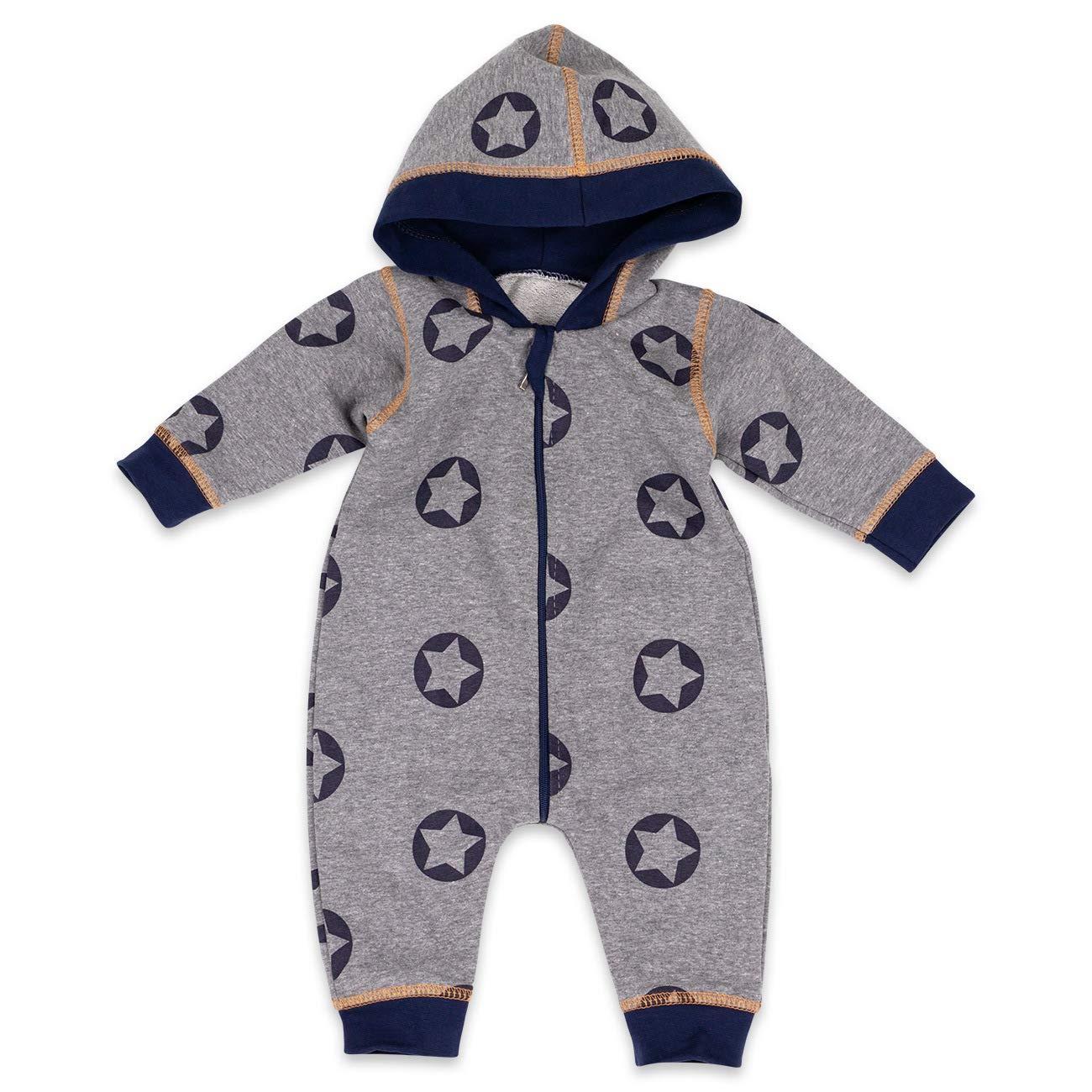 Baby Sweets Overall Jungen grau blau | Motiv: Sterne | Babystrampler mit Kapuze für Neugeborene & Kleinkinder | Größe: 1 Monat (56)