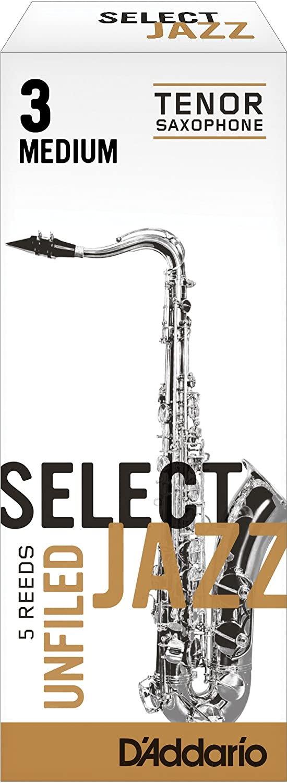 5-pack Rico Select Jazz Tenor Sax Reeds Unfiled Strength 3 Strength Medium