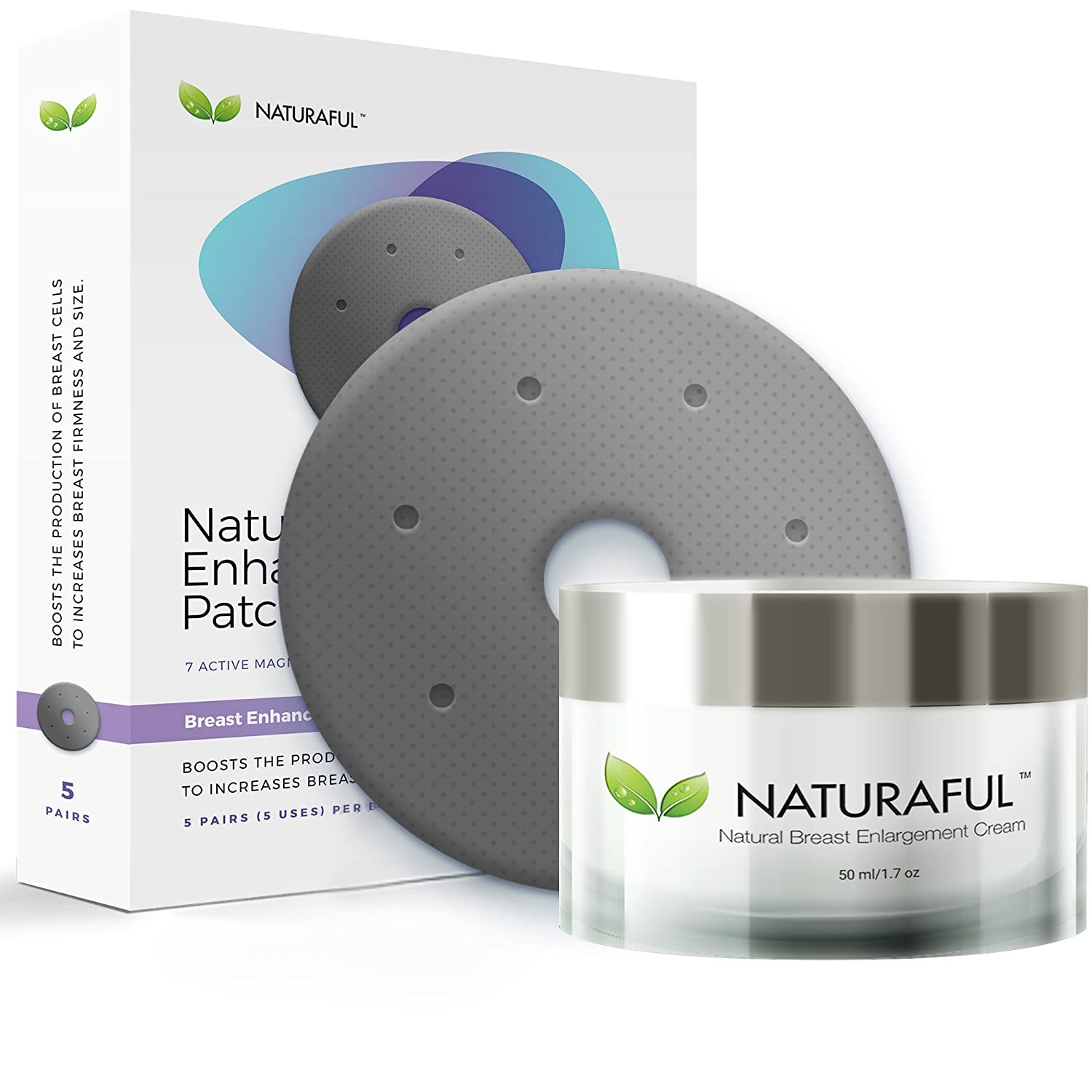 3 PACK NEW NATURAFUL - Breast Enhancement Cream & Enhancement Patch BUNDLE - Natural Breast Enlargement, Firming and Lifting | Includes Handbook | $429 Value