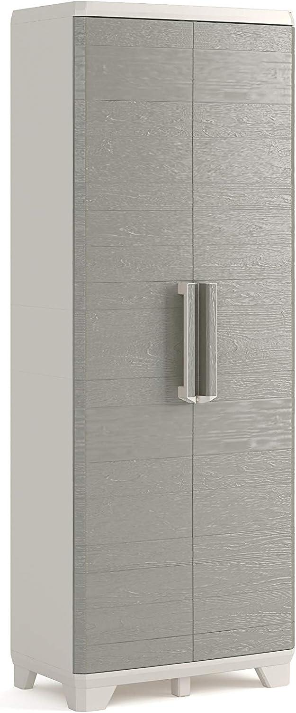 Keter Wood Grain - Armario Alto con 3 Baldas, color Beige con Puertas Textura Madera, 182 x 68 x 39 cm