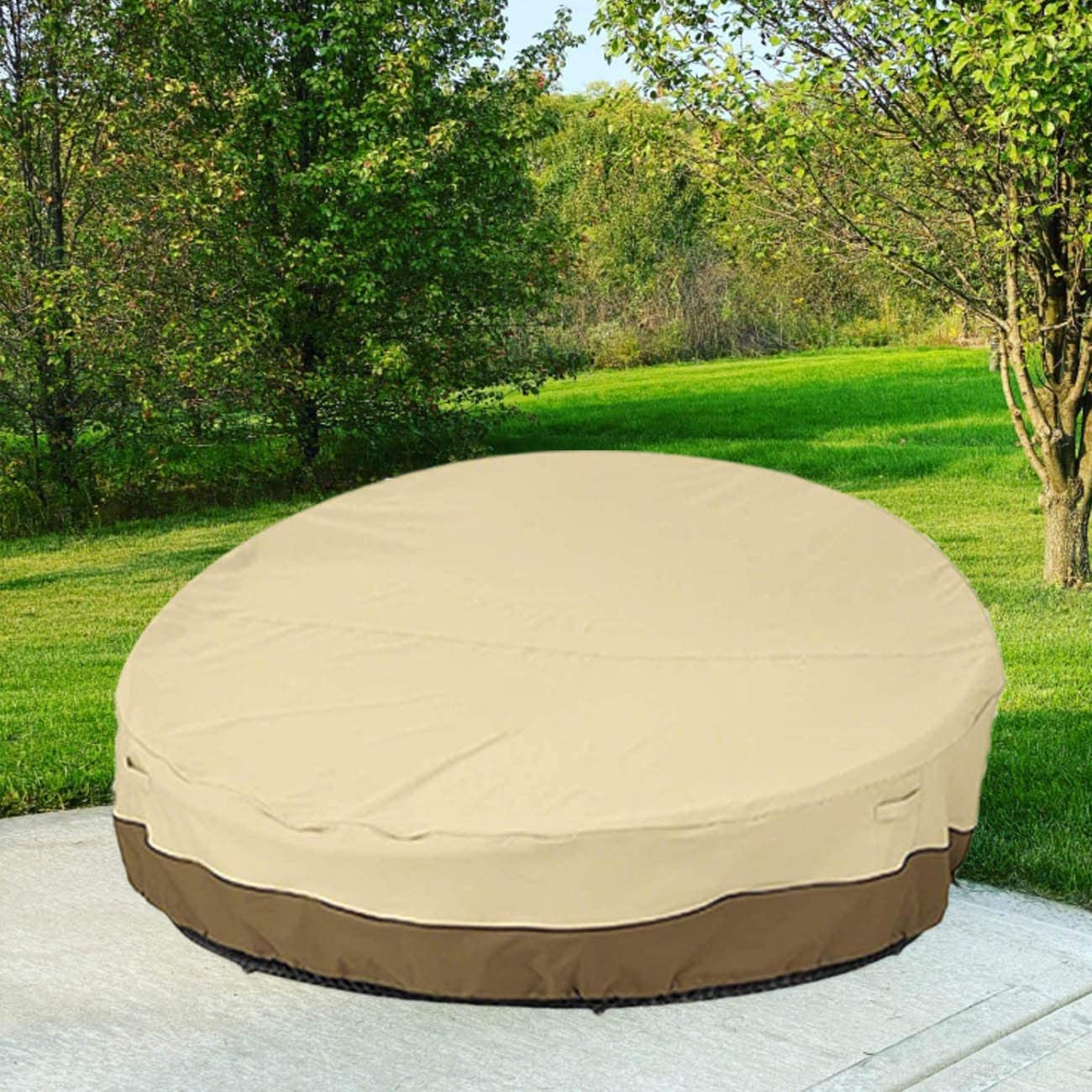 """75"""" Heavy Duty 420D Waterproof Daybed Cover Outdoor Round Canopy Day Bed Sofa Cover Patio Furniture Cover UV Weather Resistant"""