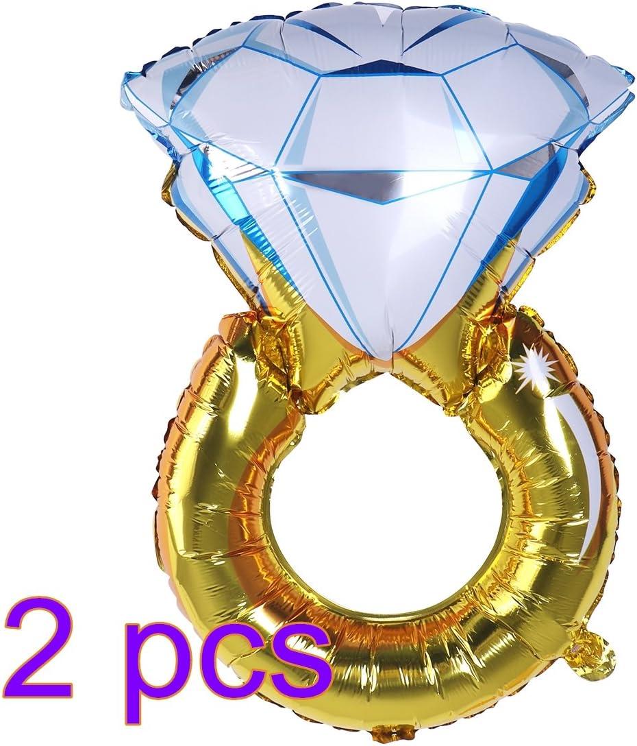 NUOLUX 2pcs hincha Anillo de Diamante Globo romántico más Grande de la Hoja 33