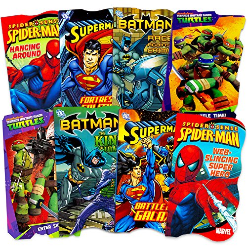 Superhero Board Books Ultimate Set Toddlers Kids -- 8 Shaped Board Books Featuring Batman, Superman, Spiderman and More -