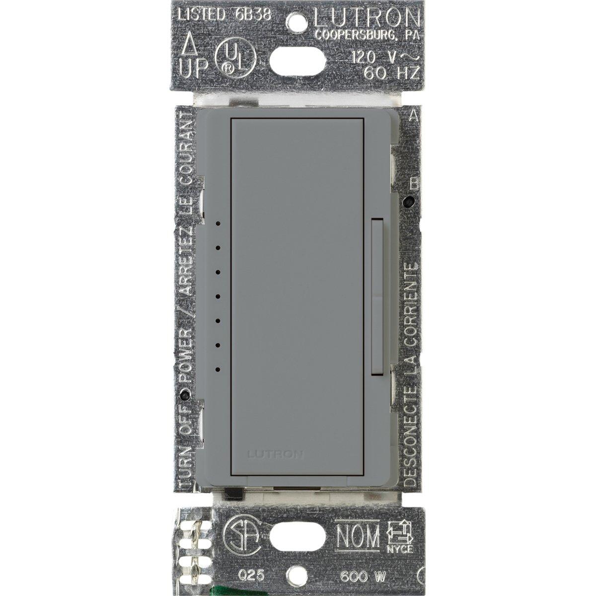 Lutron MA-1000-GR Maestro 600-watt Multi-Location/Single Pole Digital Fade Dimmer, Gray
