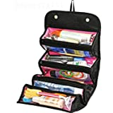 SHOPPOSTREET Women Ladies Gents Girls Black Cosmetic/Make up/Jewelry/Toiletry Roll-N-Go Roll up Fold-able Travel Bag Pouch Organizer