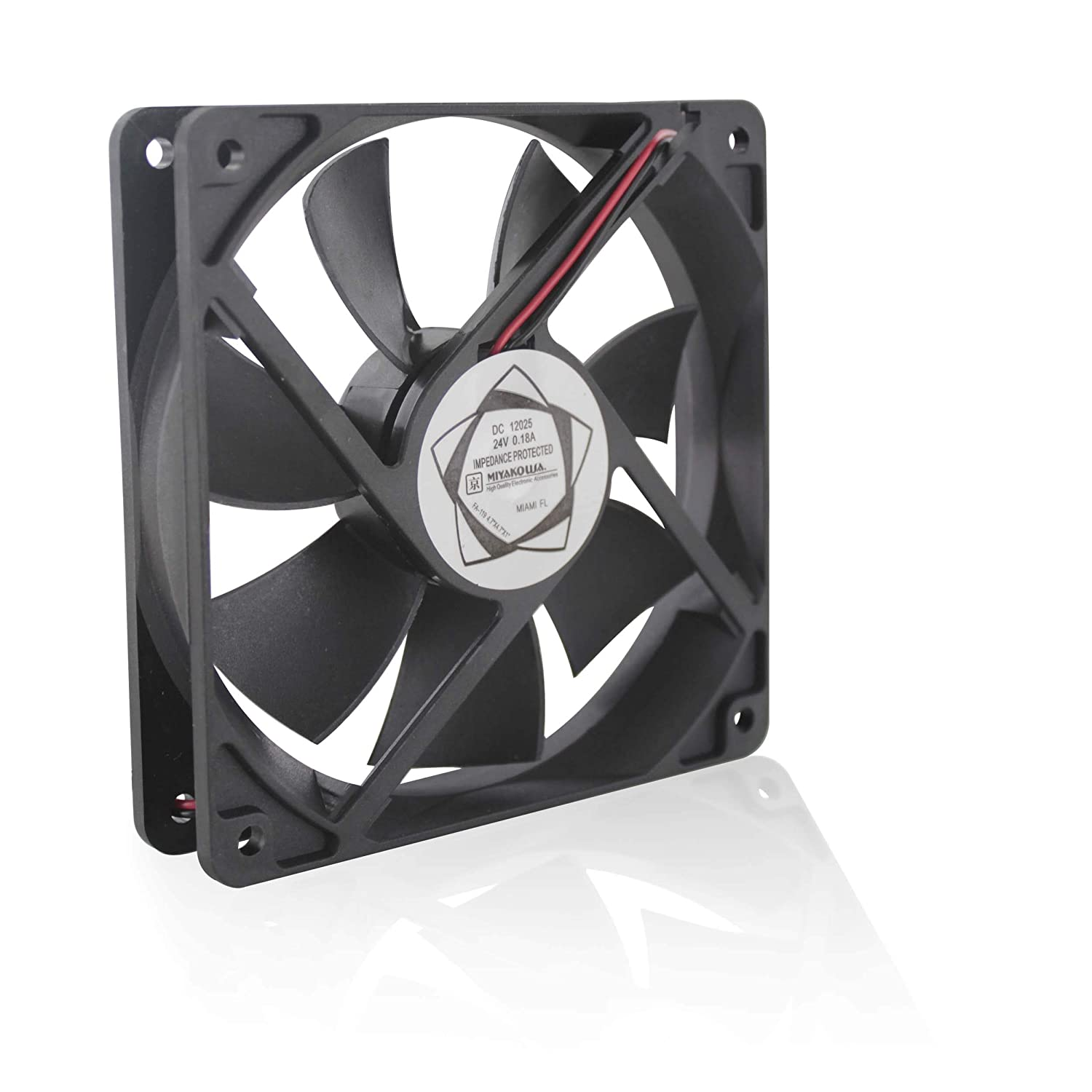 "MIYAKO 12V DC CPU Cooling Fan Super Silent 2200 RPM 7 Blades 4.75"" x 4.75"" x 1"" inches 0.25A Ideal for Computer Cases, 3D Printers and Radiators (FA-114)"