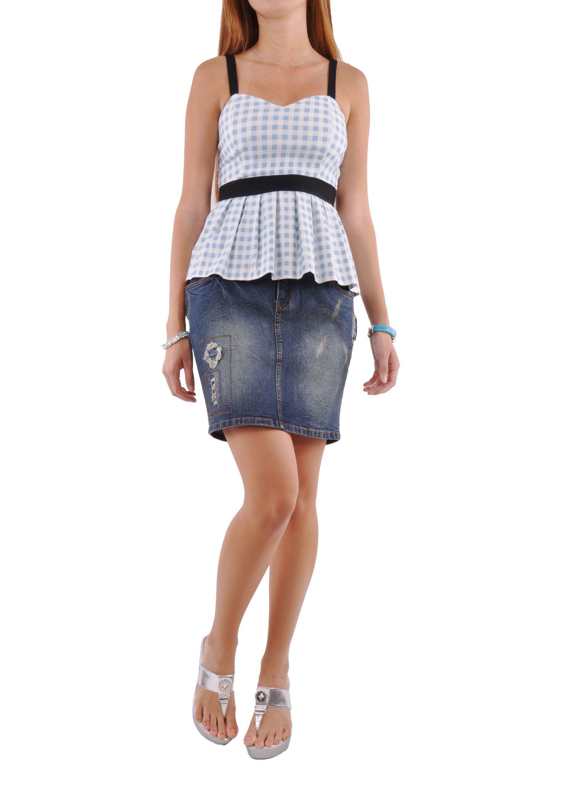 Style J Weekend Cutie Jean Skirt-Blue-32(12)