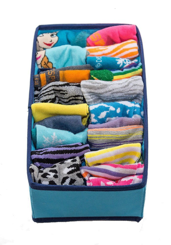 Best Underwear Organizer for College Dorm, Aqua Blue Dresser Organizer for Girls Bras up to Size 42D, Four Collapsible Boxes, Great for Organizing Socks, Lingerie by Mirella's House (Image #5)