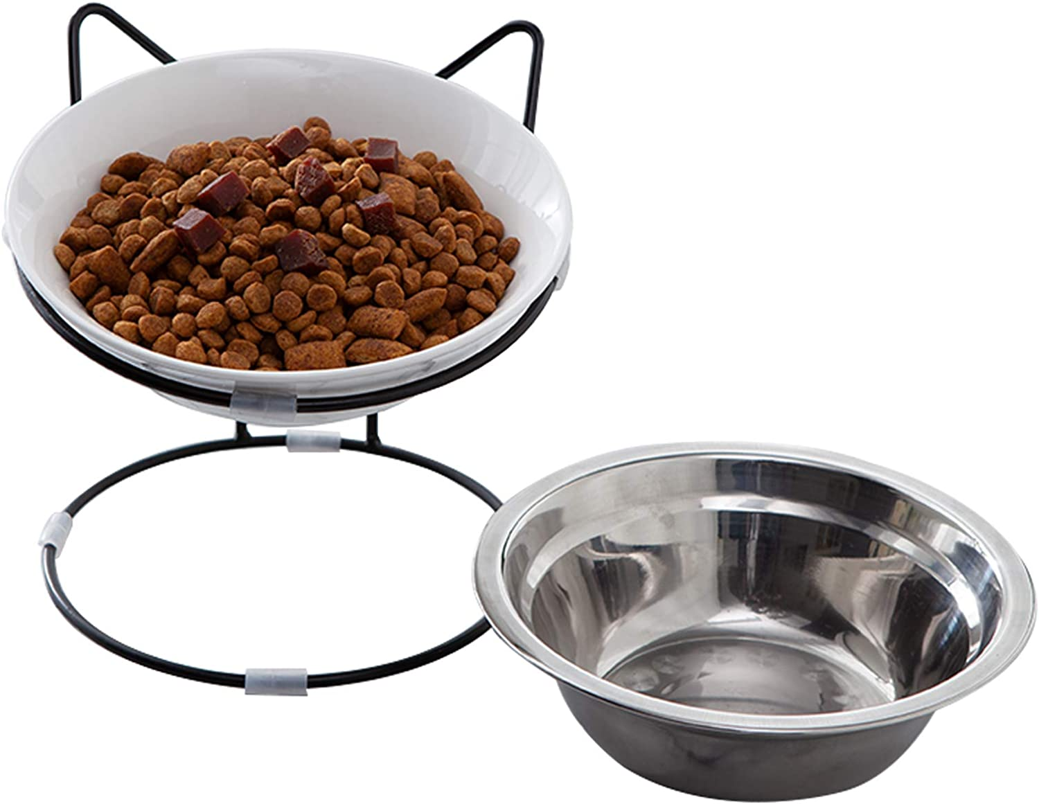 Jemirry Cat Food Bowls, Raised Cat Bowls for Food and Water, Ceramic Cat Dishes for Cat and Little Dogs, White
