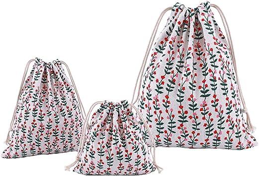 Abaría - 3 unidades bolsa de algodón con cuerdas – Pequeña saco ...