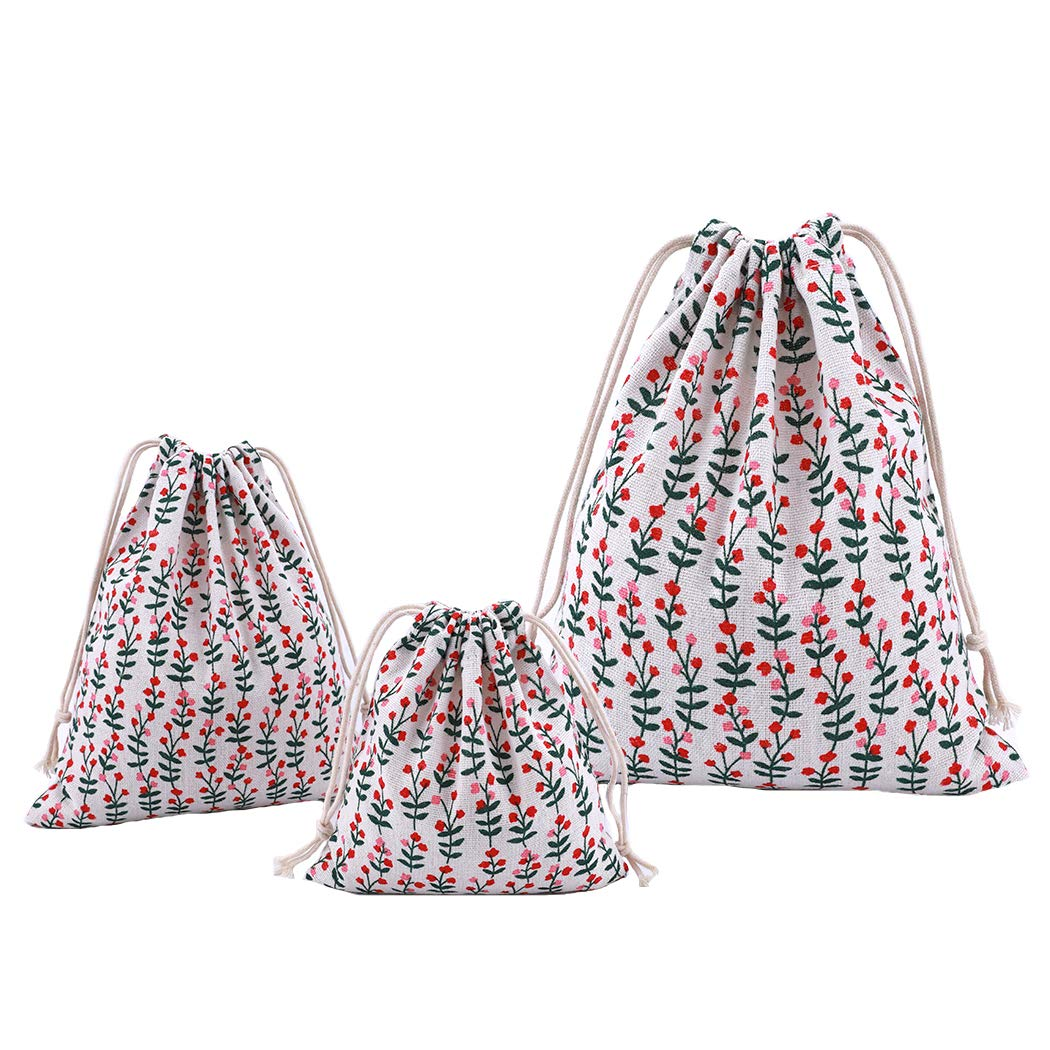 Grey Tartan Pouch for Little Accessories Amoyie Fabric Storage Bag with Drawstring 3 pcs