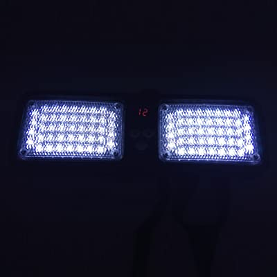 Wecade 86 LED Sunshield Strobe Light Super Bright Flashing Emergency Warning Lights for Visor Maximum Visibility with 12 Flashing Patterns Fits Commercial Truck Boat Car (White): Automotive