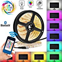 LED TV Backlight, Share Control met APP 6.56ft/2m Plug in RGB Kleur Veranderende Verlichting 60 LED 5050 Strip Tape Light Share Control met Bluetooth Remote Mable Mood Lights voor Home Decor
