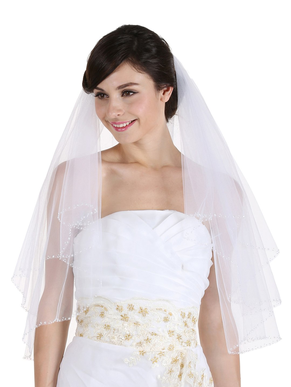 2T 2 Tier Sequin Beaded Edge Bridal Wedding Veil (Elbow Length 30'', White V057)