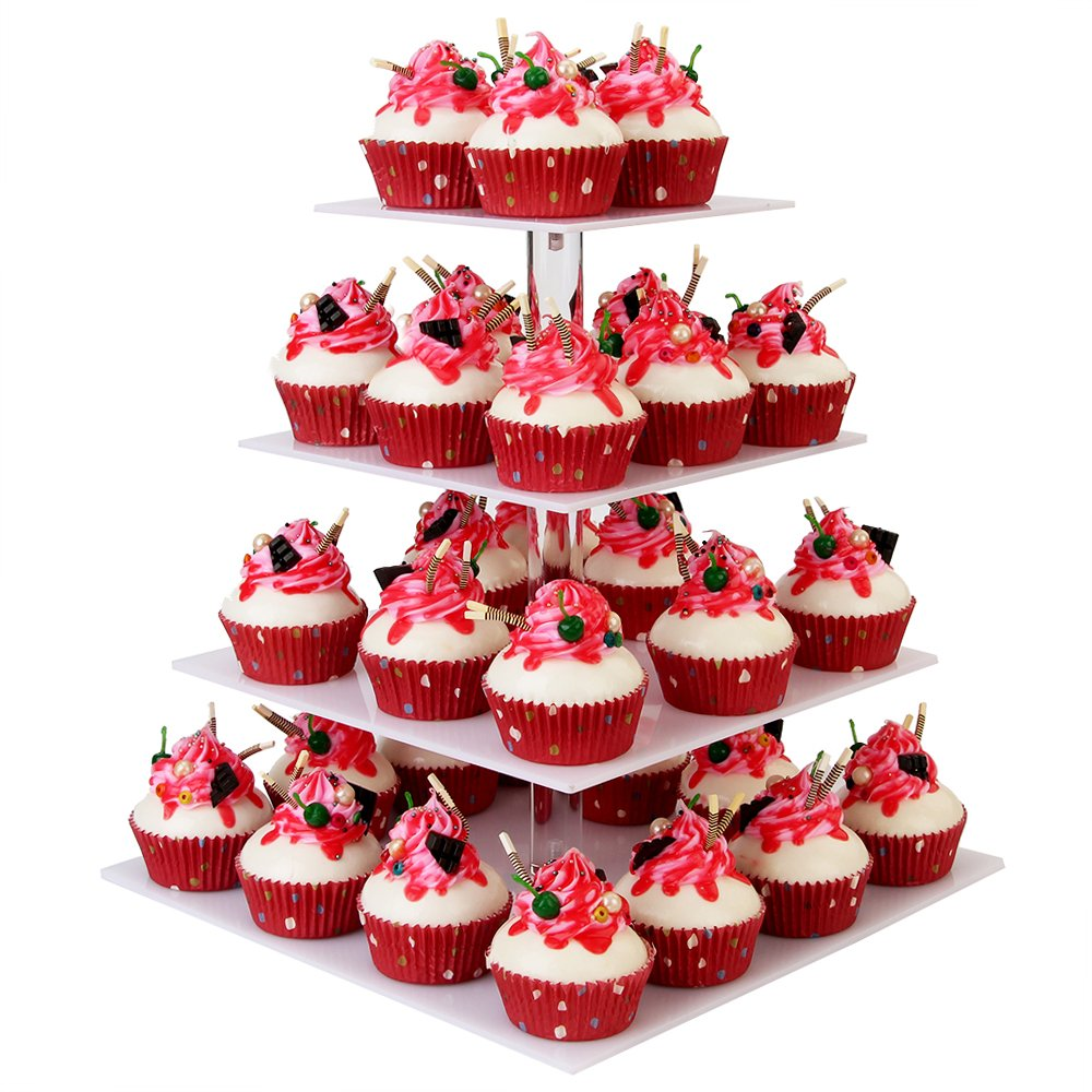 YestBuy 4 Tier White Square Acrylic Cupcake Stand …