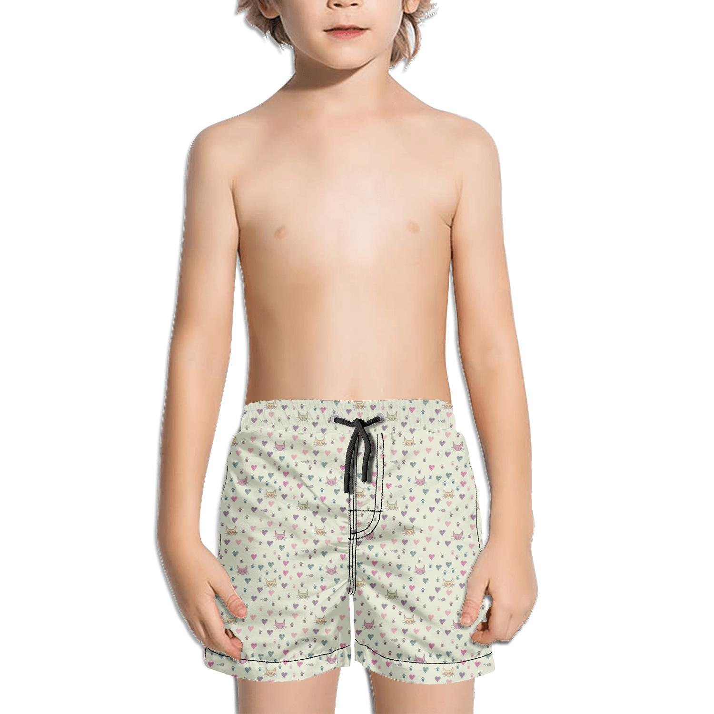 Websi Wihey Boy's Quick Dry Swim Trunks Happy Cats Footprint Heart Fashione Shorts