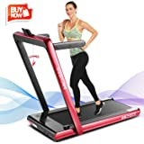 ANCHEER 2 in1 Folding Treadmill, 2.25HP Under Desk Electric Treadmill with Remote Control and Bluetooth Speaker & LCD Monitor, Installation-Free,Exercise Fitness Machine for Home/Office Use