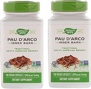 Nature's Way PAU D'Arco 1,090 Milligrams Inner Bark Traditional South American Remedy (180 Vegan Capsules) Pack of 2