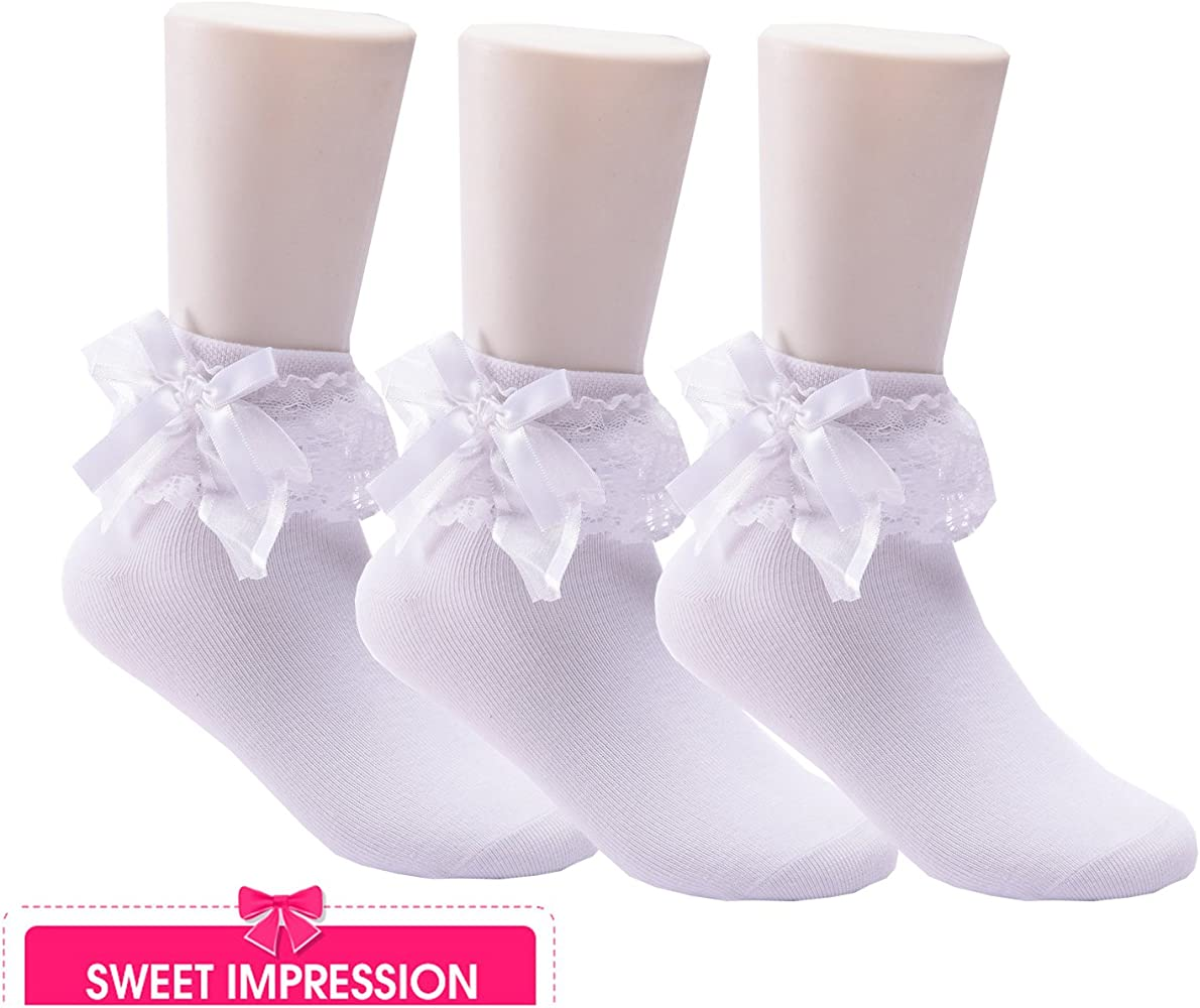 Girl Kids Children Frilly Lace Bow Dress Crew Pure White Short Socks 3-5 Years