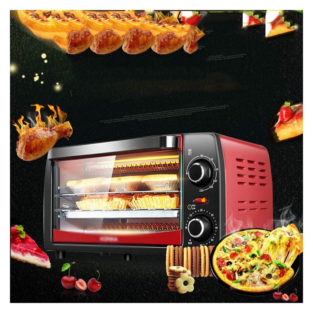 ZCYX Ovens-Red Mini Oven With Grill Electric Oven With Double Hotplate Able Top Cooker With Multiple Preset Functions 12L