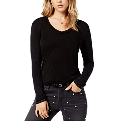 Project Social T Women's Meg Washed Long-Sleeve Top Black Large at Women's Clothing store