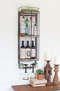 KALALOU Wire Bar Storage Cabinet, One Size, Brown