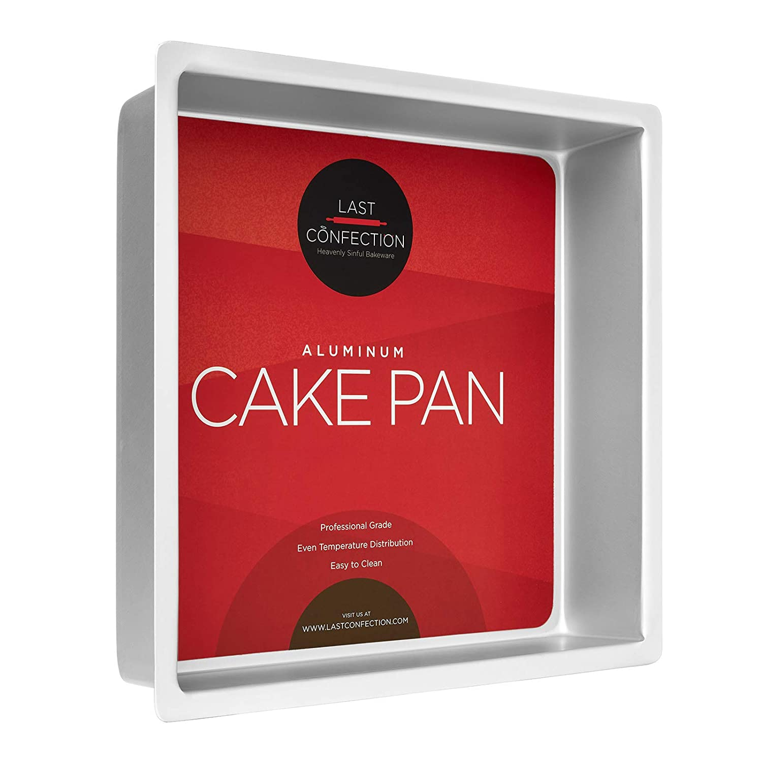 "Last Confection 12"" x 12"" x 3"" Deep Square Aluminum Cake Pan - Professional Bakeware"