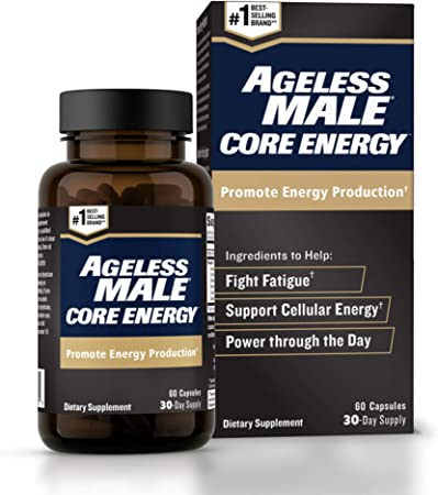 Ageless Male Core Energy for Men - Fast-Absorbing NMN for Conversion to NAD+ - Fight Fatigue & Promote Sustainable Energy on The Cellular Level, No Caffeine (60 Capsules, 1 Box)