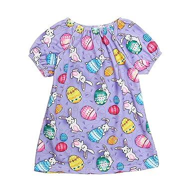 12452dd4499 Amazon.com  Toddler Little Girls Sleeveless Casual Dresses Cartoon Rabbit  Print Skirt for 0-4 Years  Clothing