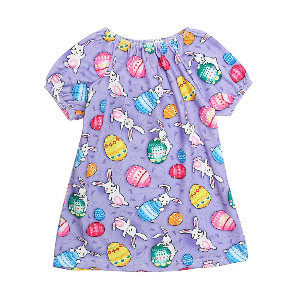 Baby Short Sleeve Dress, Kids Girls Cartoon Easter Egg Rabbit Print Dresses Princess Swing Sundress (2-3 Years, Purple)