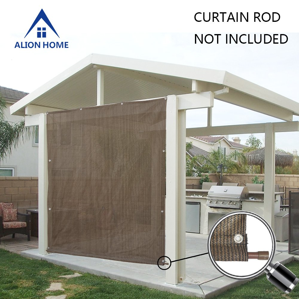 Alion Home Rod Pocket Sun Shade Panel with 3 Sides Eyelets for Patio, Awning, Window Cover, Instant Canopy Side Wall, Pergola Or RV (6' x 7', Mocha Brown)