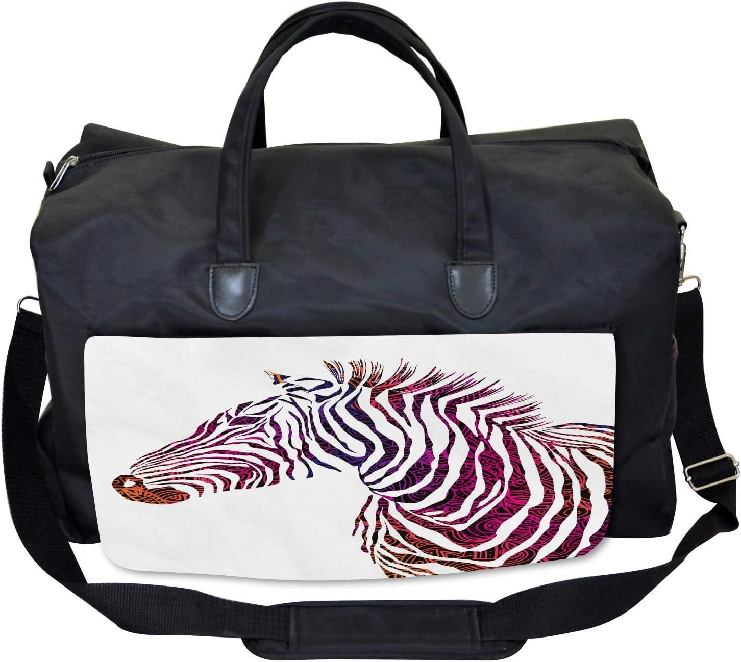 Large Weekender Carry-on Ambesonne Animal Gym Bag Ornamental Zebra Profile