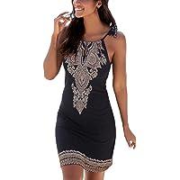 Happy Sailed Women Halter Neck Boho Print Sleeveless Casual Mini Beachwear  Dress Sundress c8b0cd551