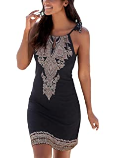 27dc8b7d5741a Womens Summer Casual Sleeveless Retro Print Halter Beach Short Dress ...