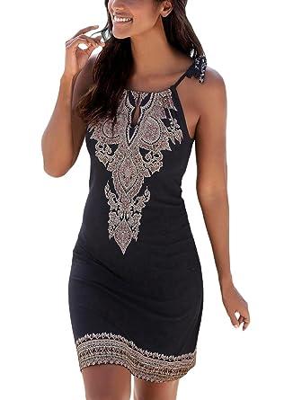 617ca8016c23 Happy Sailed Women Halter Neck Boho Print Sleeveless Casual Mini Beachwear  Dress Sundress,Small Black