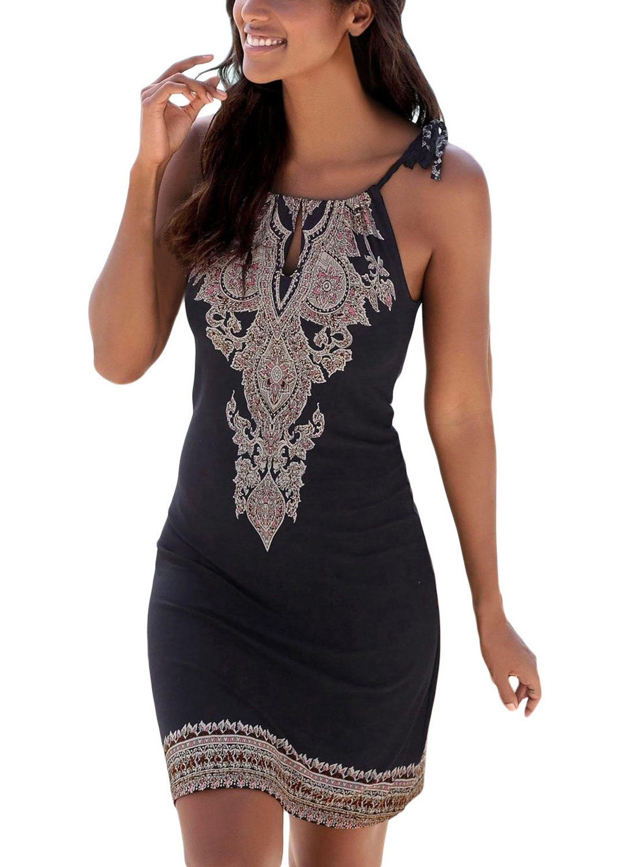 FIYOTE Women Summer Halter Neck Floral Print Sleeveless Casual Mini Dress X-Large Size Black