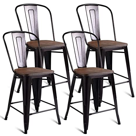Sensational Costway Tolix Style Dining Stools With Wood Seat And Backrest Industrial Metal Counter Height Stool Modern Kitchen Dining Bar Chairs Rustic Copper Alphanode Cool Chair Designs And Ideas Alphanodeonline