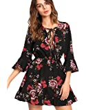 Romwe Women's Floral Print 3/4 Sleeve Party Beach Romper Short Jumpsuit Multicolor