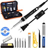 Tabiger Soldering Iron kit with Adjustable Temp 200-450℃ and ON/OFF Switch , 60W Welding tool with 5 Soldering tips, Desoldering Pump, Solder Wick, Solder wire, Wire Stripper Cutter, Stand, Tool Case