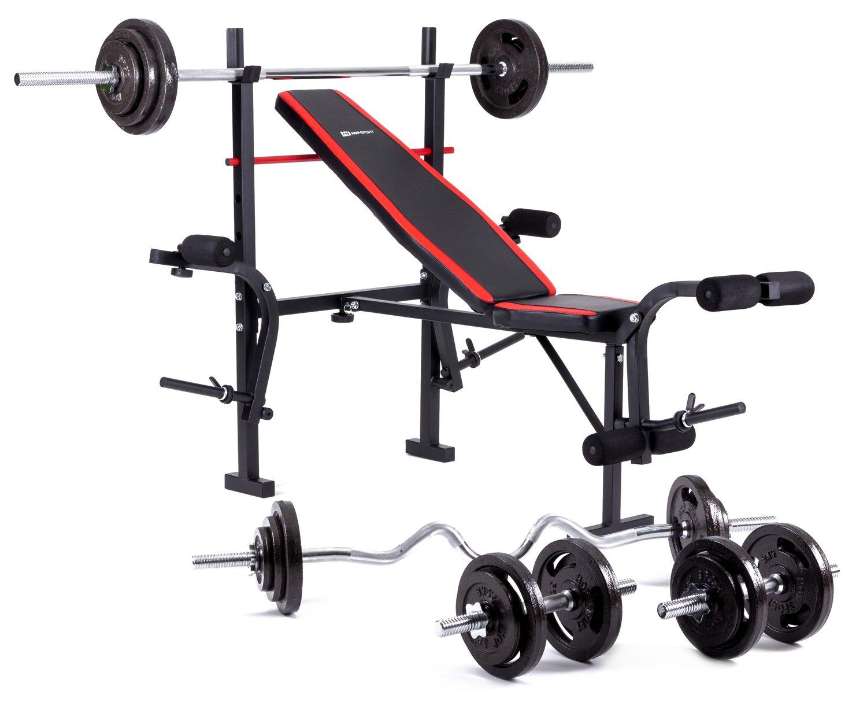 Hop-Sport zusammenklappbare Hantelbank HS-1055 mit Butterfly und Beincurler Inkl. Guss Gewichte 61 kg - 129 kg zur Wahl Lang- , Curl- & Kurzhantelstange