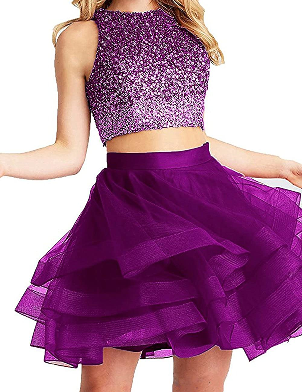 Fuchsia Beautydress Two Pieces Short Prom Gowns Top Beaded Girls Homecoming Dress