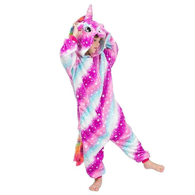 Alltops Kids Unicorn Onesie Pajama Flannel Cosplay Cloth Boys Girls Kigurumi for 2-10 Years