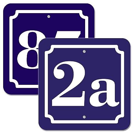 Cartel de número de casa compuesto de aluminio de 2 mm, azul ...