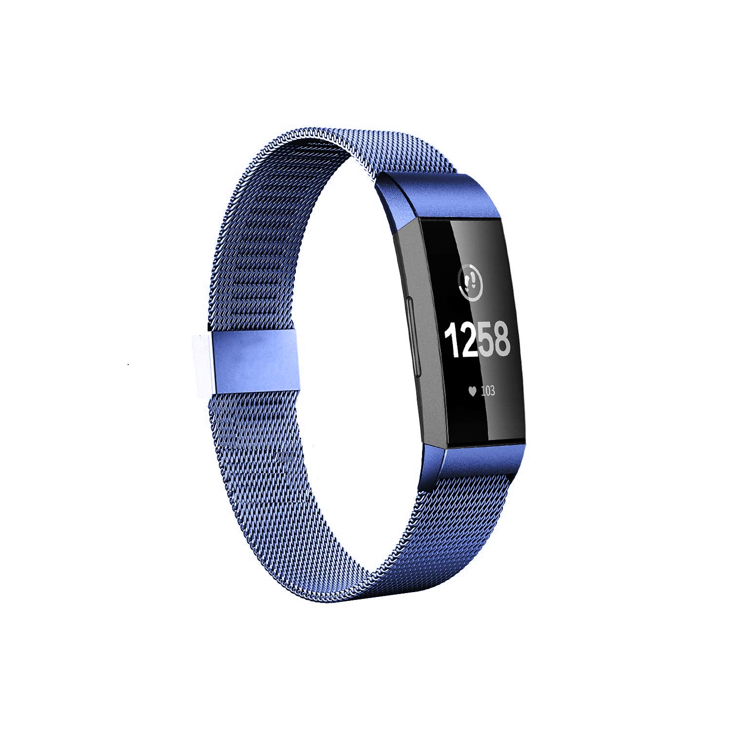 Fitlink Stainless Steel Bands Replacement for Charge 3 and Charge 3 SE for Women Men(Blue,Small)