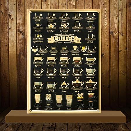 YUOKI99 Menú del café Cartel Papel Kraft Café Pop Chart ...