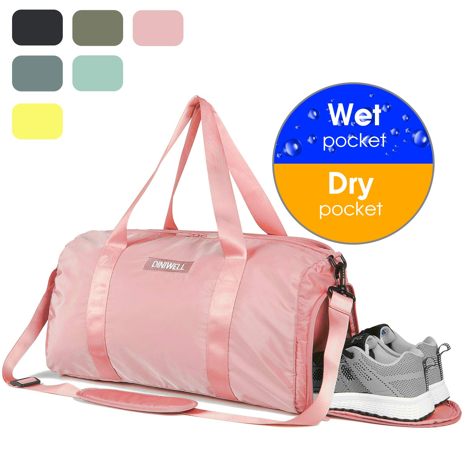 aef941b7a2 Amazon.com  Duffle Bag Gym Tote Swim Bag with Wet Pocket and Shoes  Compartment for Sports Travel Carry-on Luggage (Pink)  Sports   Outdoors