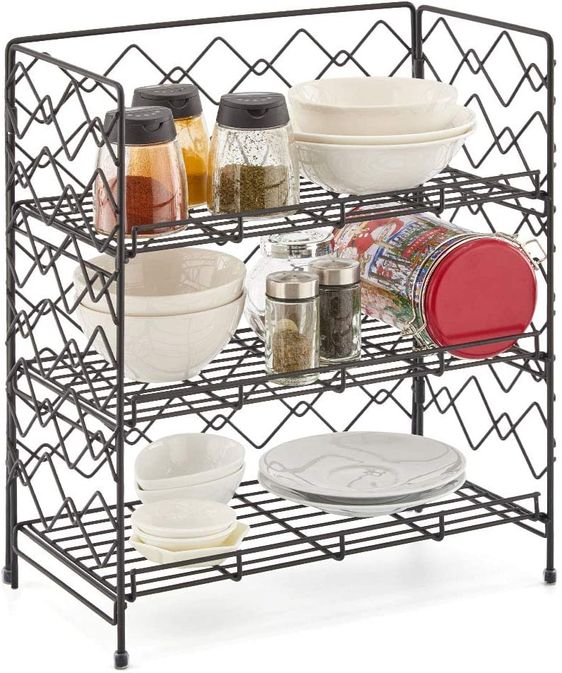 3-Tier Spice Rack, EZOWare Seasoning Herb Jars Storage Counter Metal Wire Basket Organizer Holder Shelf for Kitchen, Cabinet, Bathroom, Office Pantry and more - Black