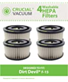 4 Pack Washable Dirt Devil F15 Filters for ALL Dirt Devil Quick Vac Models; Compare to part #1-SS0150-000, 3-SS0150-001 (3SS0150001)