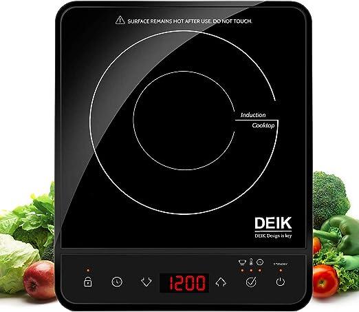 Deik - Quemador de inducción, 1800 W, sensor táctil con bloqueo de ...